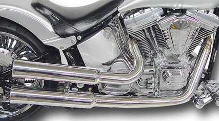 Falcon CC Double Groove / Komplettanlg. / silber feinpoliert / HD Softail / 1986-2006 / ABE