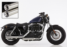 ANGEBOT: FALCON Double Groove SlipOn / VA poliert / HD Sportster XL 883/1200 / 06 - 13 / ABE