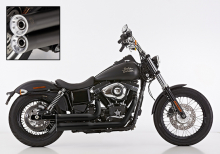 ANGEBOT: FALCON Double Groove / Komplettanlg. / KAT / black / HARLEY DYNA Street Bob / ab 2006 / ABE