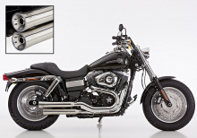 ANGEBOT: FALCON Double Groove Slip On / poliert / HD Fat Bob / ab 2008 / ABE