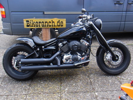 BLACK-EDITION: Ceramic-Black - Falcon Double Groove / KAWASAKI VN 900 / Komplettanlg. / mit KAT / ABE
