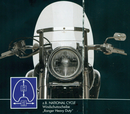 "National Cycle Windshield ""Ranger B"" 39 h x 42 b mit ABE"