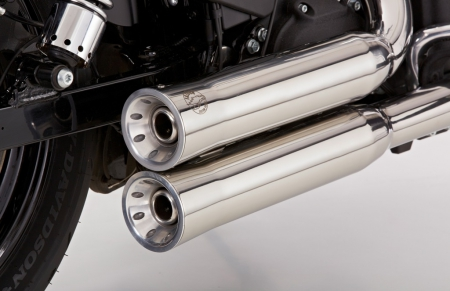 FALCON Double Groove / Komplettanlg. / KAT / silber poliert / HD Softail Custom / 2007-2010 / ABE