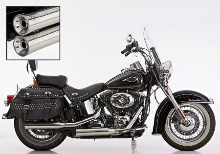 Vorführer: Falcon Double Groove / Slip on / silber poliert / HD Softail Heritage Classic / ab 2007 / ABE