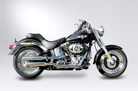 Aussteller: MILLER 2-2 SlipOn / Harley Softail Fat Boy / Anlage MONTANA I + Endkappen Tapered / ABE