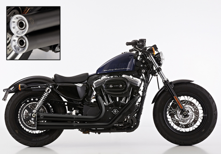 Euro4: FALCON Double Groove / HD Sportster XL 883/1200 / Komplettanlg. / KAT / black / ab 2017 / ABE