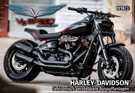 Vorführer: PENZL V2-Speed Auspuffset elekr. verstellb. / black ceramic / Harley Softail Fat Bob  / ab 2018 / EG-BE