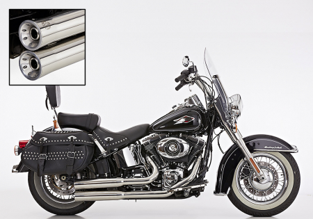 Vorführer: FALCON Double Groove Komplettanlg. / poliert / HD Softail Heritage Classic / ab 2007 /ABE