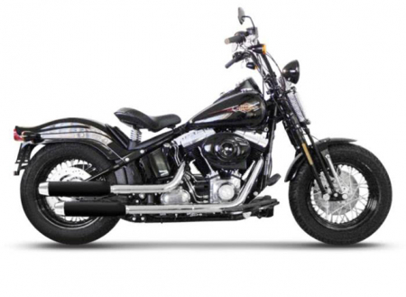 Vorführer: MILLER 2-2 SlipOn Auspuff Hunter / black / Harley Softail Cross Bones / EG-BE
