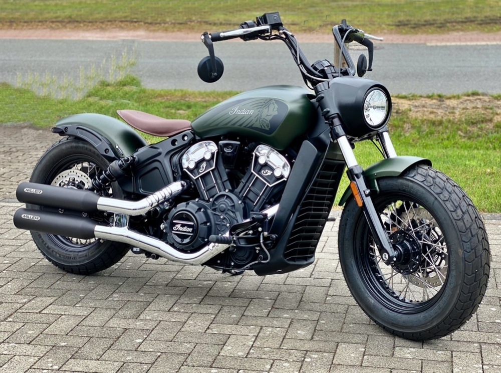 Vorführer: MILLER  YUMA II  / EURO 4 - SlipOn / black / Indian - Scout Sixty Bobber - 1000 ccm / EG-BE