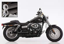 ANGEBOT: Falcon Double Groove / Komplettanlg. / KAT / black / HD Dyna Fat Bob / ab 2008 / ABE