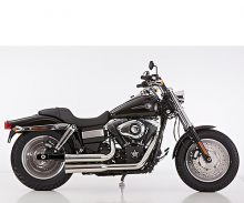 Falcon Double Groove Komplettanlg. / KAT / poliert / HD Dyna Fat Bob / ab 2008 / ABE