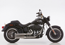 Euro4: FALCON Double Groove / Komplettanlg. / poliert / HD SOFTAIL / Heritage / Fat Boy / ab 2017 / ABE