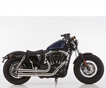 Euro4: FALCON Double Groove Komplettanlg. / poliert / HD Sportster XL 883/1200 / ab 2017 / ABE