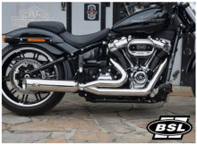 BSL 2-1 Classic Low Exit Auspuff / Headpipes 70mm with BSL Bomb VA Satin / Softail / Euro 4 / TÜV